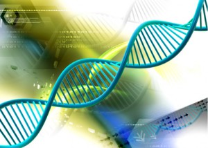 Dna in abstract color background